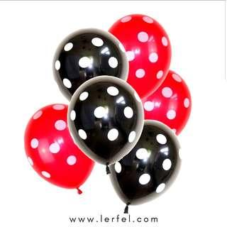 Pokka Dots Balloon Set - 30 Pieces (Red & Black) (Birthday / Christmas)