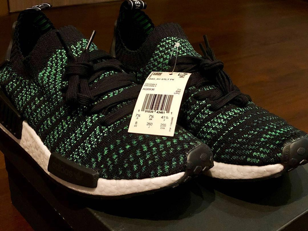 online store 48cf7 d0276 Adidas NMD R1 STLT PK Core BlackNoble Green, Mens Fashion, Footwear,  Sneakers on Carousell
