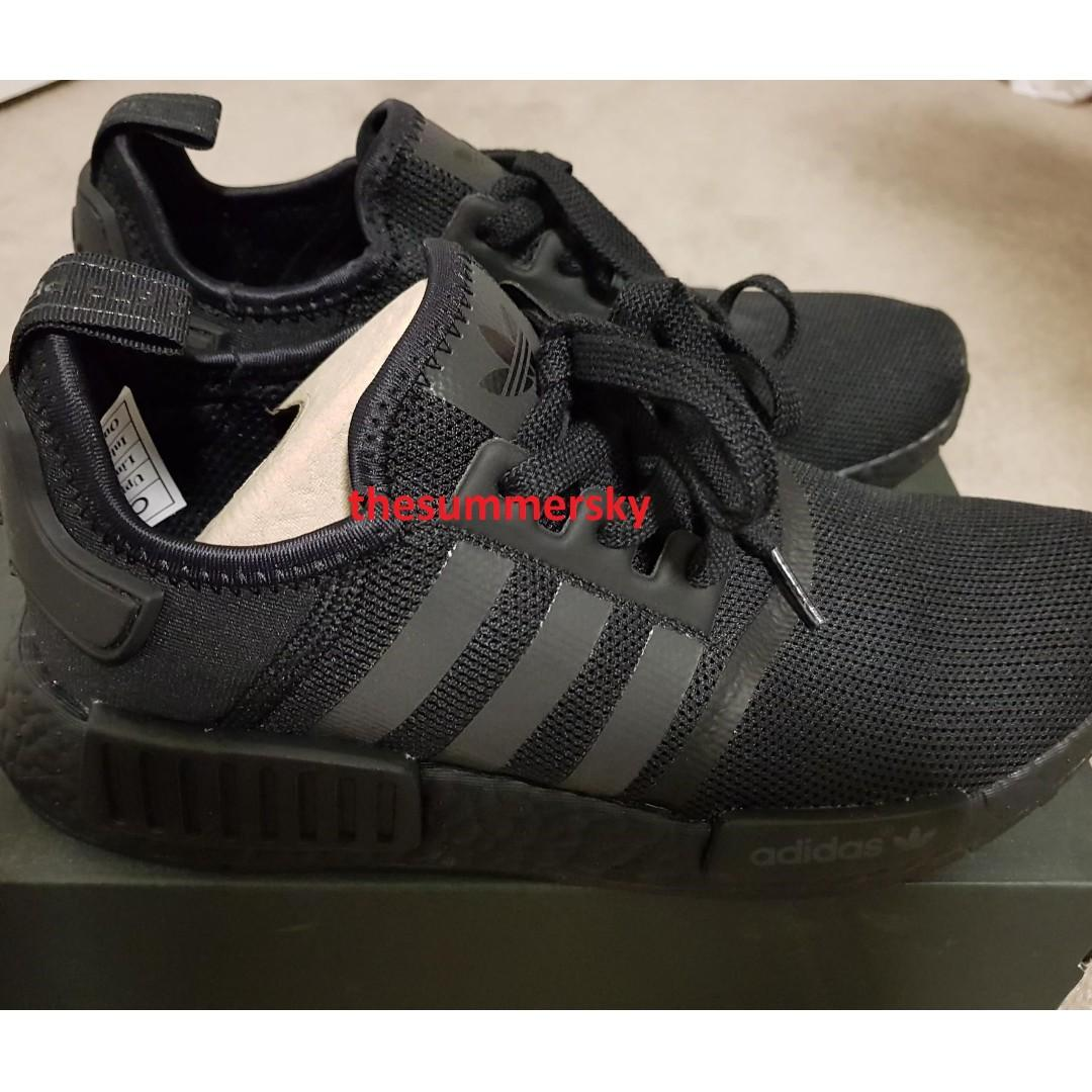 Adidas Nmd Triple Black R1 Us8 Men S Fashion Footwear On Carousell