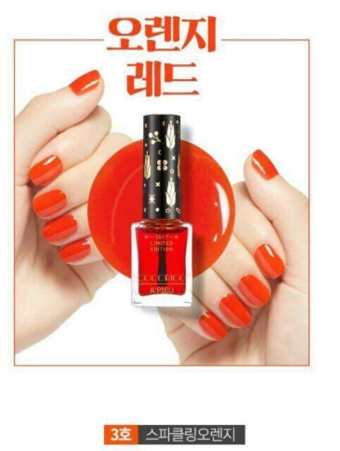 韓國🇰🇷APIEU Cocorico聯名 指甲油 3號 橘紅色