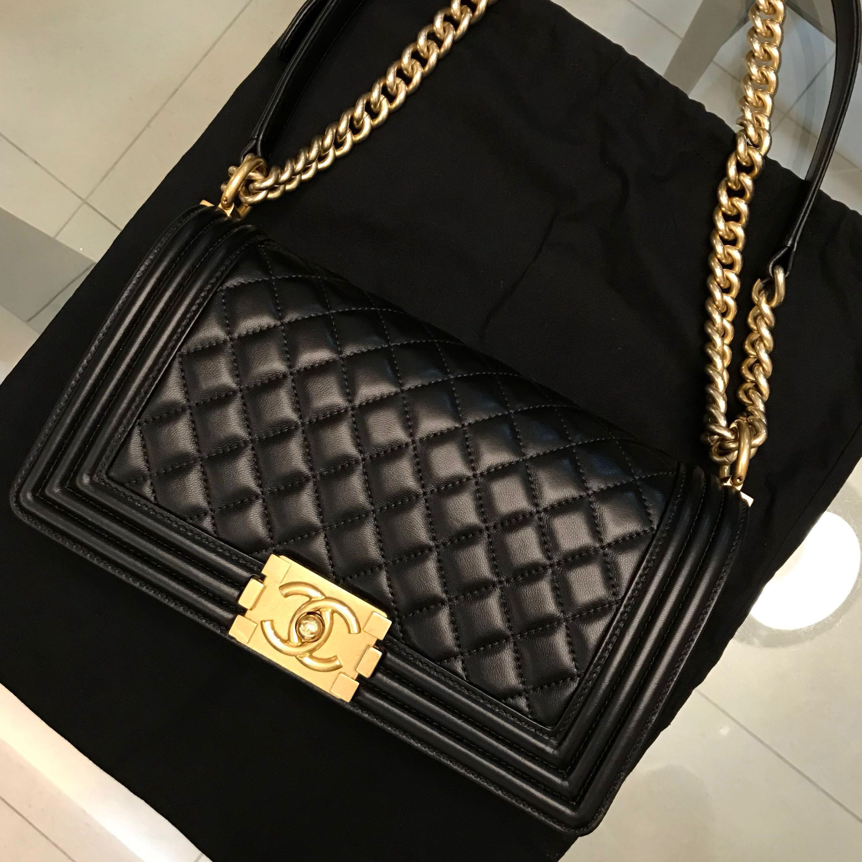 f5a3de65d0aa Authentic Chanel Boy Lambskin in Black Gold Hardware (Old Medium), Women's  Fashion, Bags & Wallets, Handbags on Carousell