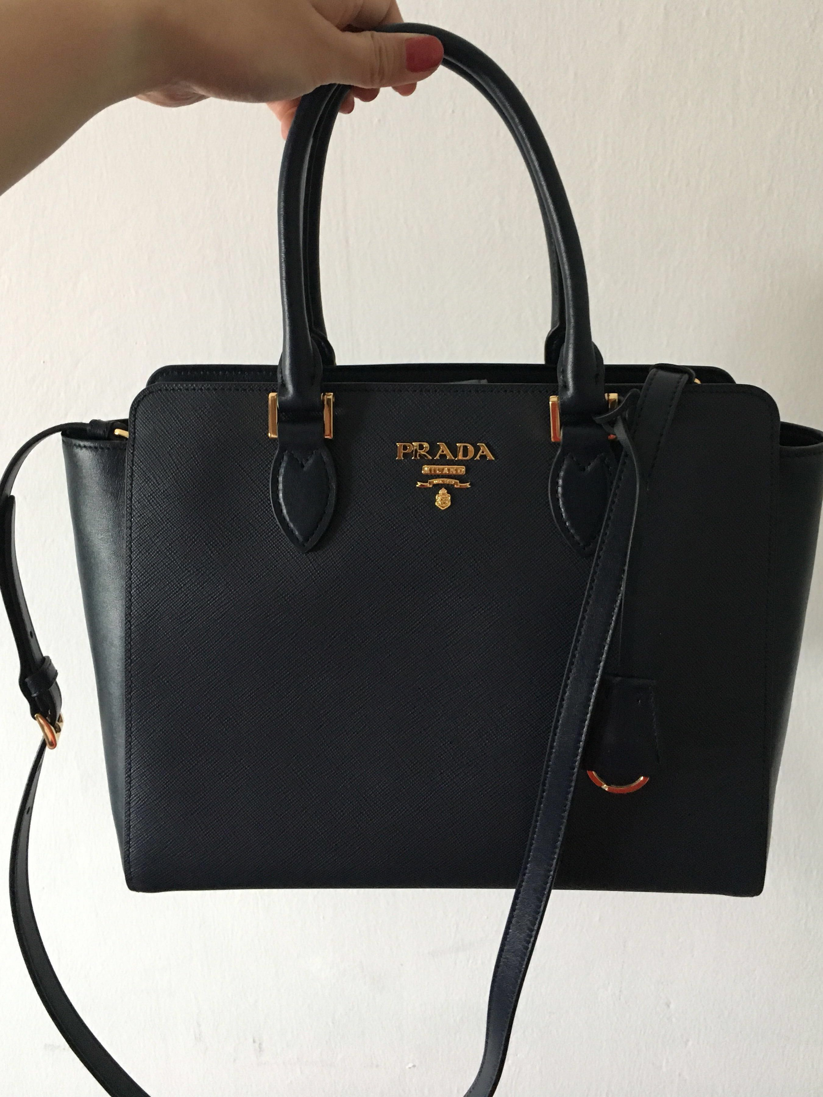 683ac720a80912 BN Authentic Prada Saffiano Leather Sling Bag with Handles in Navy ...