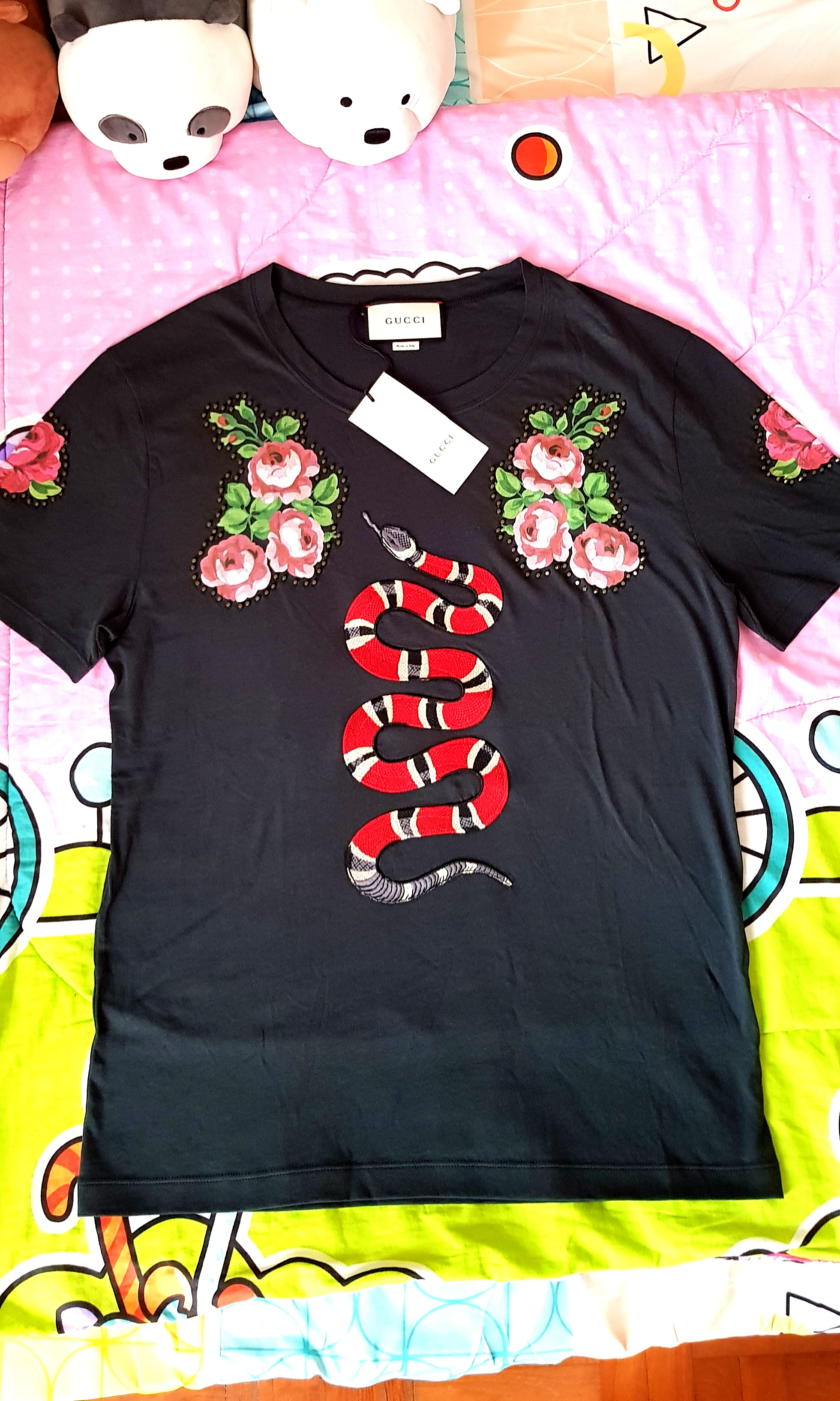 a8207bca Brand New Gucci King Snake Floral Studs Black Tee., Men's Fashion ...