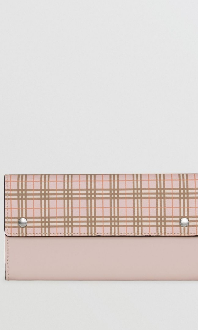 c00aadda29f2 Burberry Small Scale Check and Leather Continental Wallet