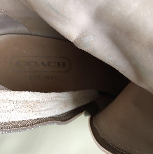 Coach Knee High Suede Shearling Wedge Boots