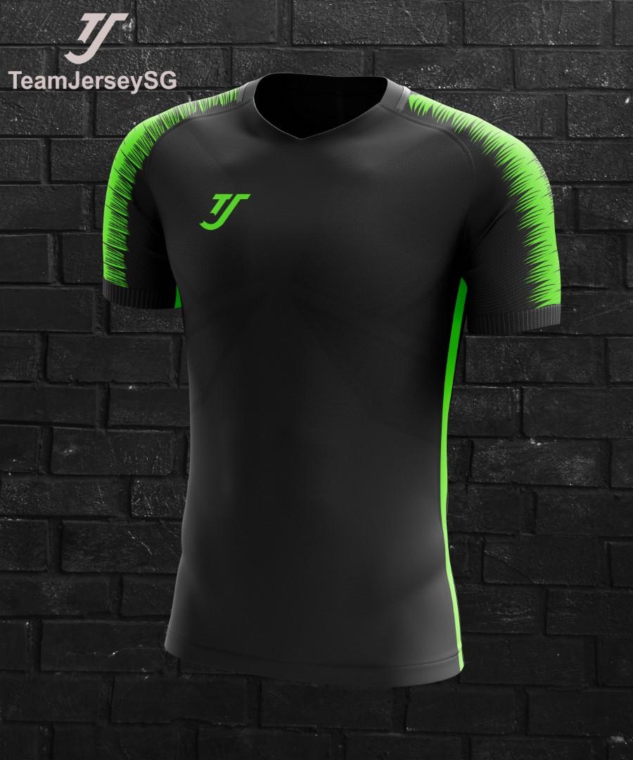 Customize team soccer jersey black green- TJ (free printing) 298dd8bbf