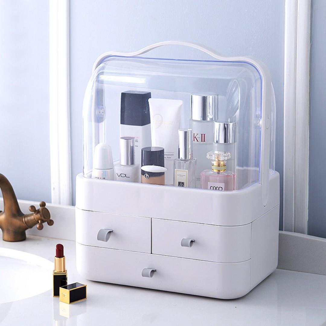 Dustproof Makeup Organizer Waterproof Makeup Organizer Makeup Organizer With Handle Cover Cosmetic Storage Drawer Cabinet Portable Hand Carry