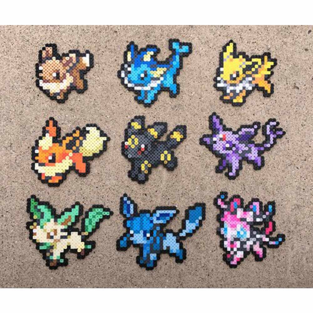 Eevee Evolution Series Pokemon 8 Bit Pixel Art Design Craft