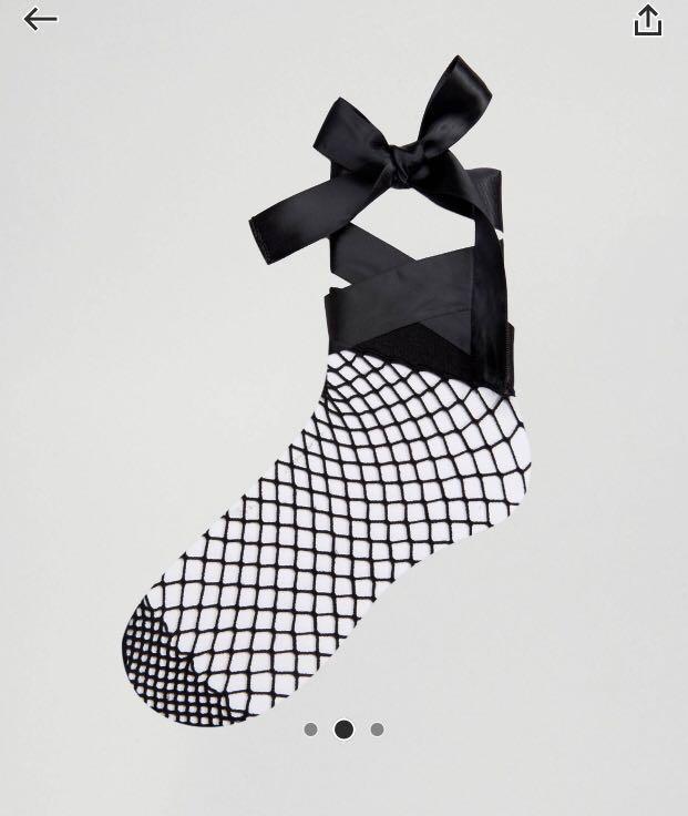 (FREE)Black Bow Fish Net Socks