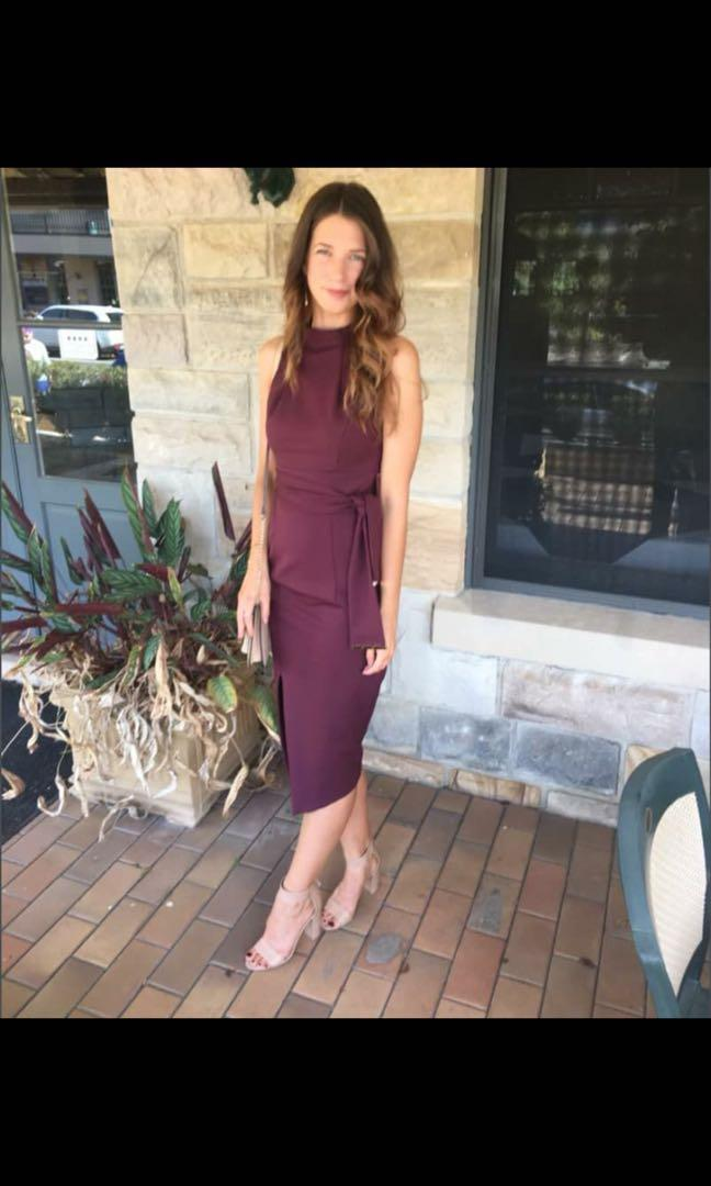 GORGEOUS Sheike Wine Classy Midi Dress - Size 6