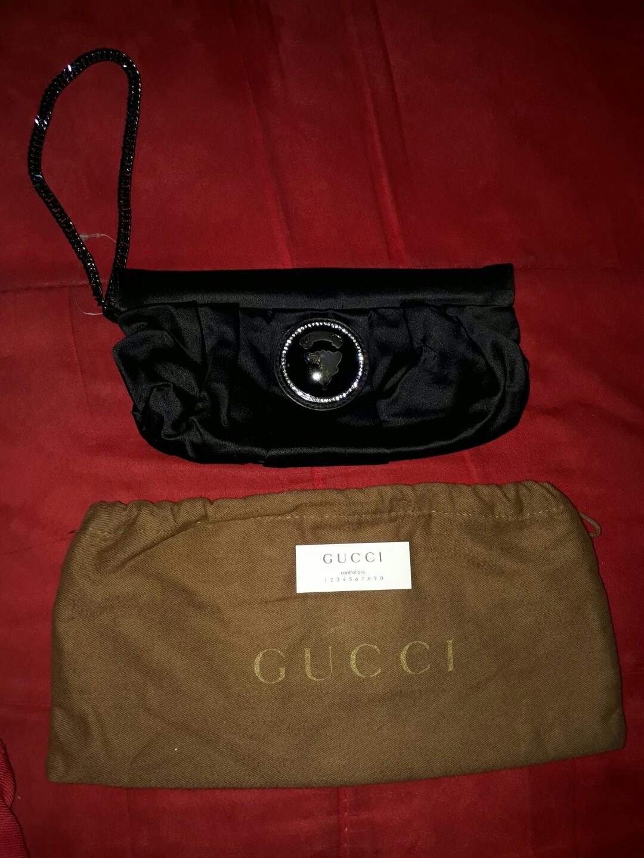 c861eb389ff Gucci Black Nylon Hysteria Evening Clutch Bag with Swarovski ...