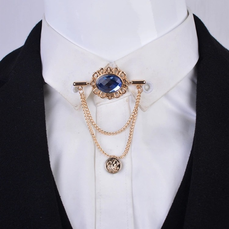 i-Remiel New Vintage Tassel Crystal Oval Collar Brooch With Chain Pin  Buckle for Women Men Lapel Suit Shirt Clothing Accessories