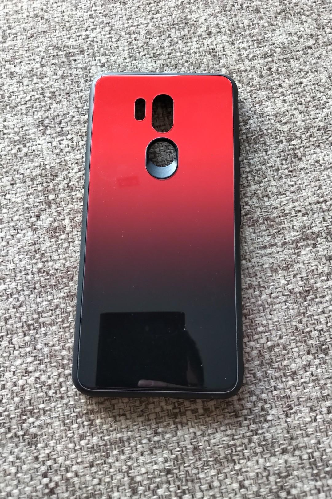 kwmobile LG G7 ThinQ Tempered Glass Hard Case - Red Black