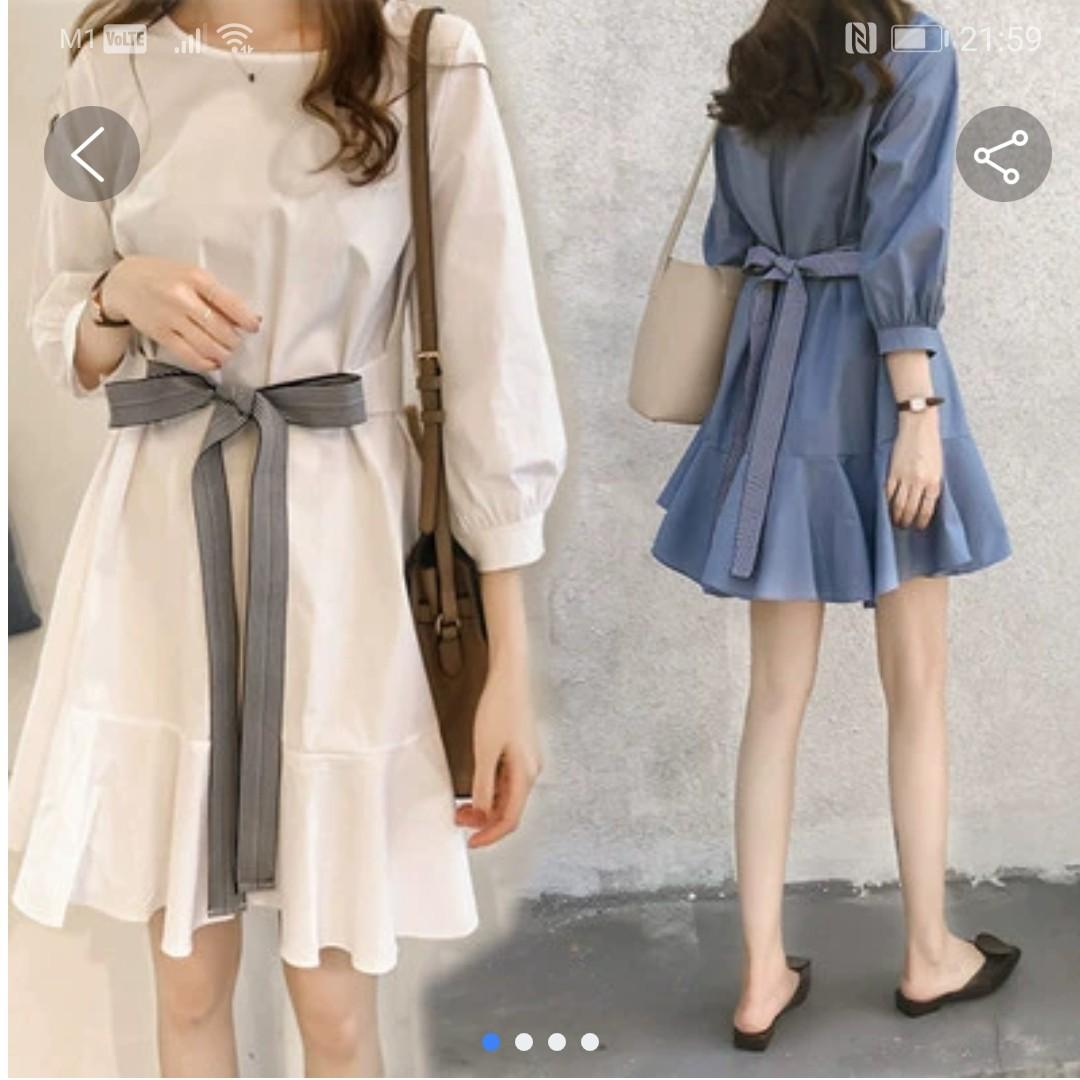 Long sleeve slimming plus size dress - Blue color