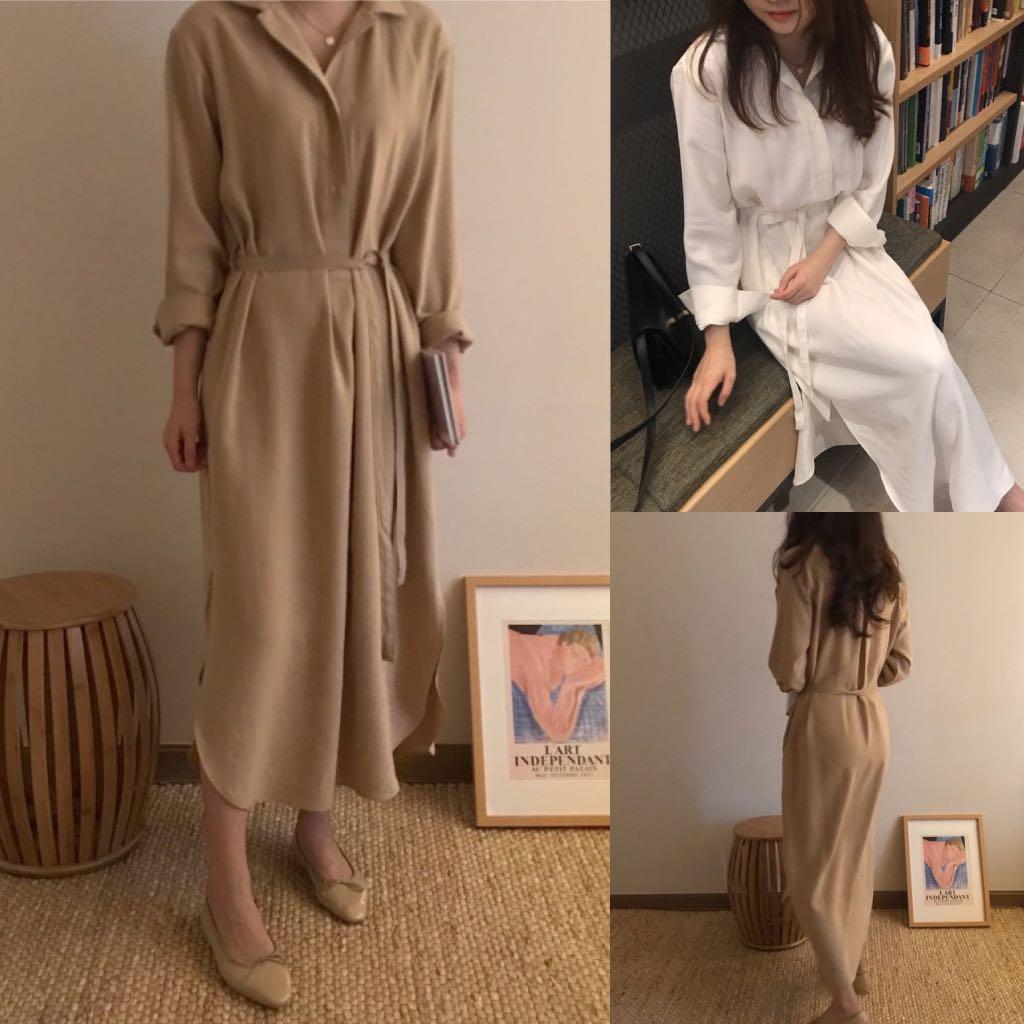 cbfb028fd7e6 Loose Fitting Long Pullover Shirt Korean Long Sleeve Tie Shirt Dress ...