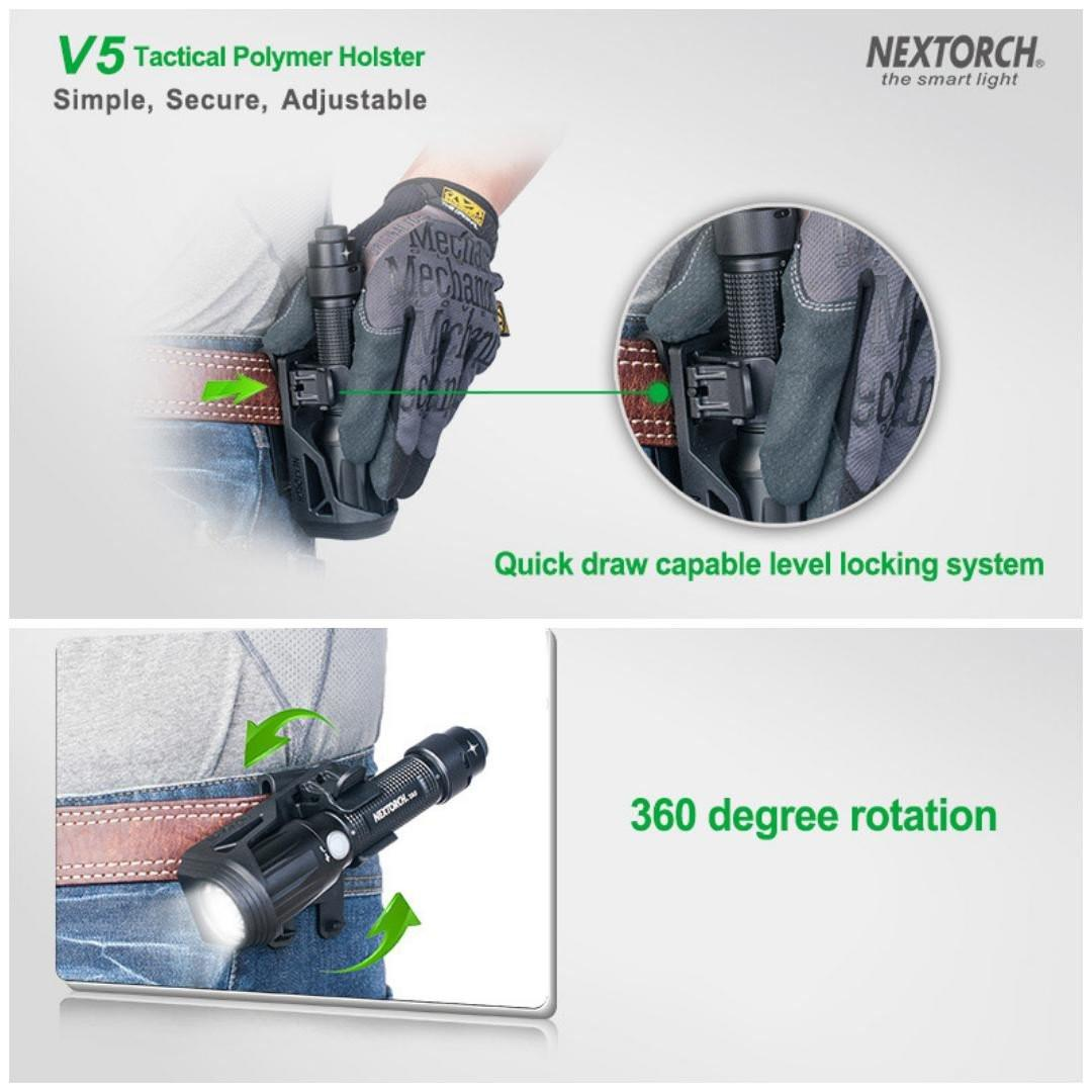 """Nextorch V5 Tactical Flashlight Holster with Lever Side Lock System Only for 1""""-1.25"""" Diameter Flashlight"""