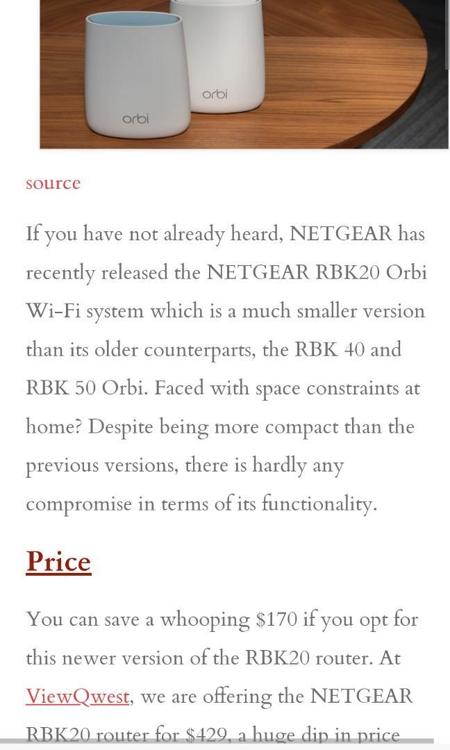 Orbi Netgear Tri-Band Wifi Mesh Rbk20 Ac2200, Electronics