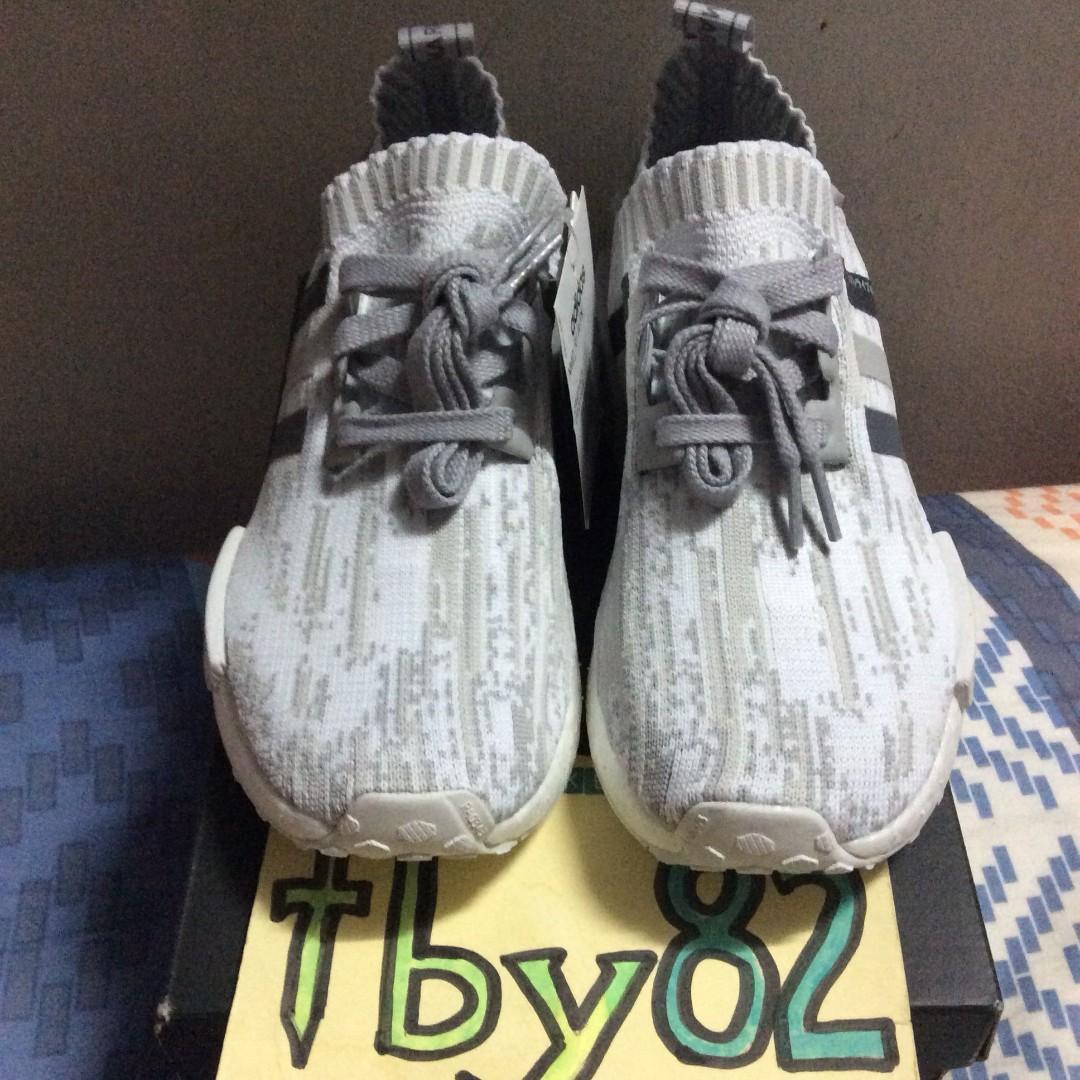 PO) Adidas Womens NMD R1 Primeknit Japan White Camo Glitch