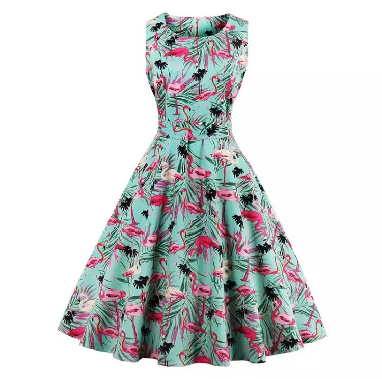 bb3913c0456 (PO) S-4XL Flamingo Print Summer Dress Women 2018 Sleeveless Swing 50s  Hepburn Vintage Tunic