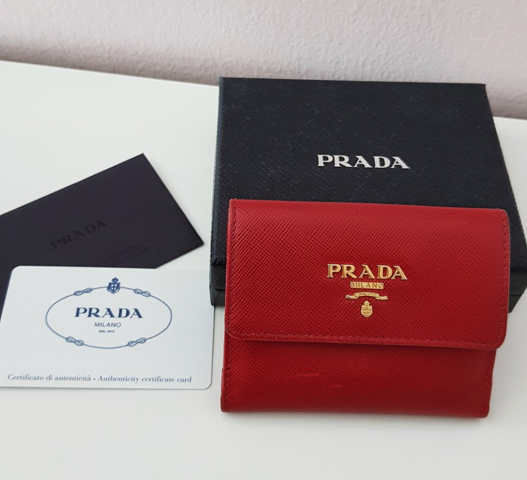 f508102223f Prada Small Leather Wallet 1MH350 Red, Luxury, Bags & Wallets ...