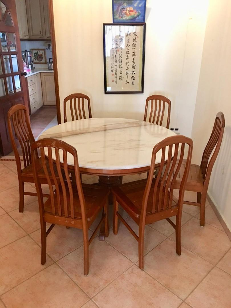 Round Marble Dining Table Set With 6 Chairs Furniture