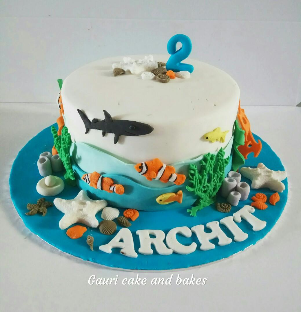 Awesome Sea Aquarium Cake Underwater Cake Food Drinks Baked Goods On Funny Birthday Cards Online Inifodamsfinfo