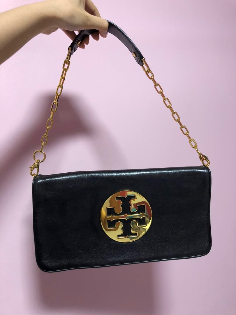 8d556c7293d Tory Burch black leather clutch