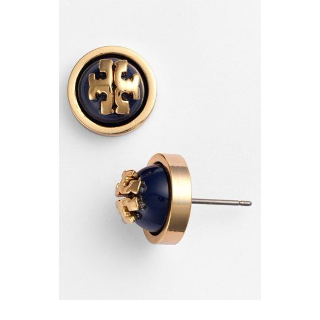 c61e2b9490a22 Tory Burch Melodie Stud Earrings in Navy (INSTOCK)