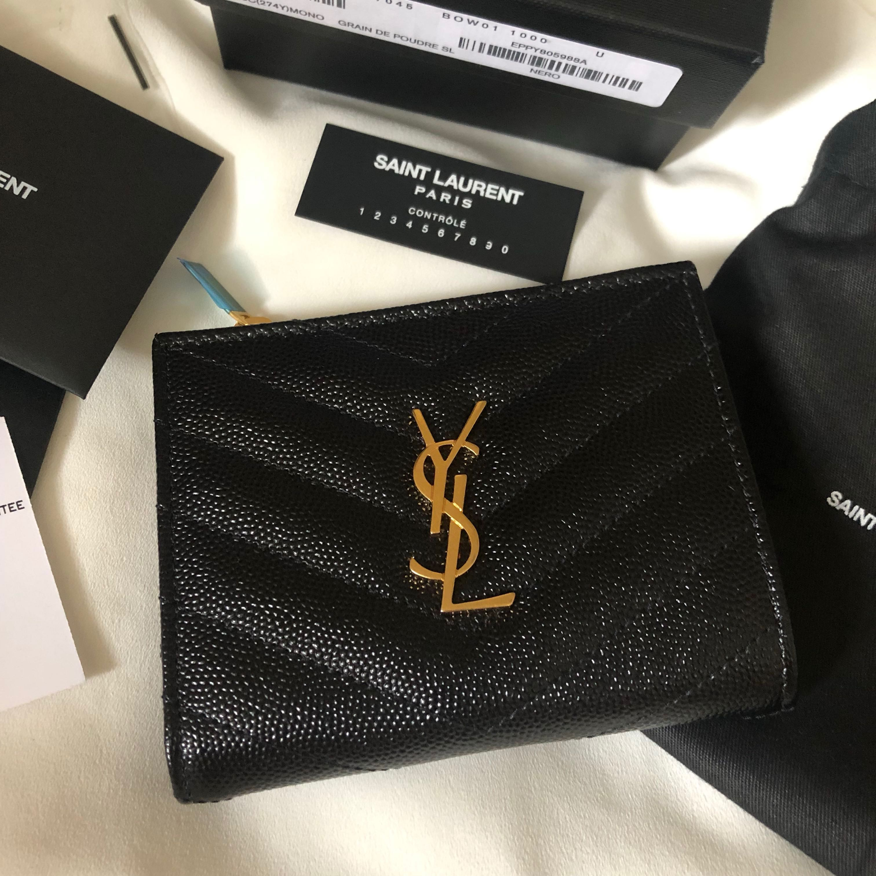 af56484810e YSL Wallet MONOGRAM ZIPPED CARD CASE IN GRAIN DE POUDRE EMBOSSED LEATHER  銀包100% New and 100% Authentic, Luxury, Bags & Wallets on Carousell