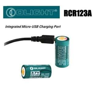(In-Stock) Olight RCR123A / 16340 Rechargeable Battery with Built-in USB Port (USB Cable Included)