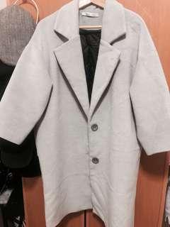 🚚 灰色毛呢長版落肩大衣外套