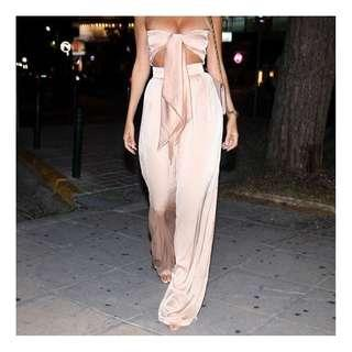 Nude pink off shoulder pants trousers terno set coordinates
