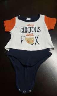 Short-sleeve Cotton Baby Romper; Fox Design (0-6months)