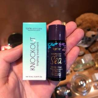 100% BRAND NEW ORI TARTE SKINCARE RAINFOREST OF THE SEA DEEPDIVE REMOVING MAKEUP CLEANSER + KNOCKOUT TINGLING TREATMENT