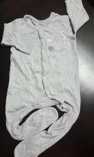 Grey Long-sleeve Cotton Baby Sleepsuit by MotherCare (6-12 months)