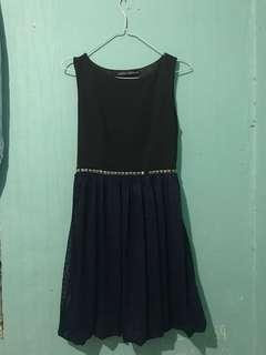 Dress gaun pesta hitam biru