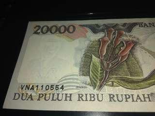 uang kertas indonesia 20.000 th 1995