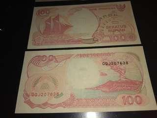 uang kertas 100 th 1992
