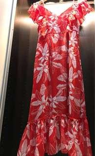 Red floral long dress with spaghetti straps & draped shoulder sleeves