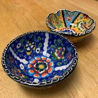 🚚 土耳其 傳統 彩繪 水滴型 小碟一對 當地帶回