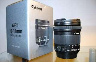 Cheapest! Canon EFS 10-18 4.5 - 5.6 wide angle lens