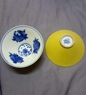 """舊黄釉内青花三多纹斗笠茶碗一对。4"""" 完美!"""