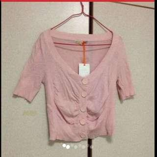 $39 IORA Free-size Pastel Pink Short-sleeve Cardigan ( Brand New With Tag )
