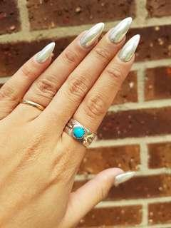 Genuine handmade American Indian and turquoise ring UNISEX Large size