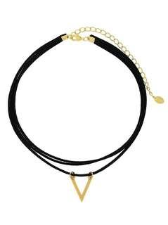 BNWT - Suede Choker with 14k Gold plated V Charm