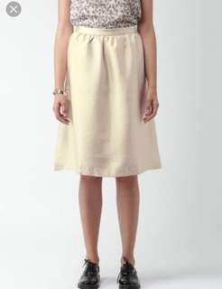Gold Shimmer A Line Midi Skirt