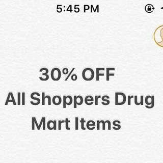 30% off all shoppers items