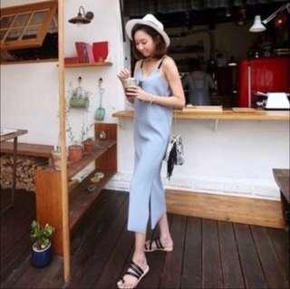 Korean Midi Dress in Sky Blue