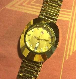 Authentic Rado Diastar day date Automatic gold plated watch
