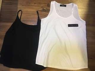 Black and White Sleeveless Tops Buy 1 Take 1